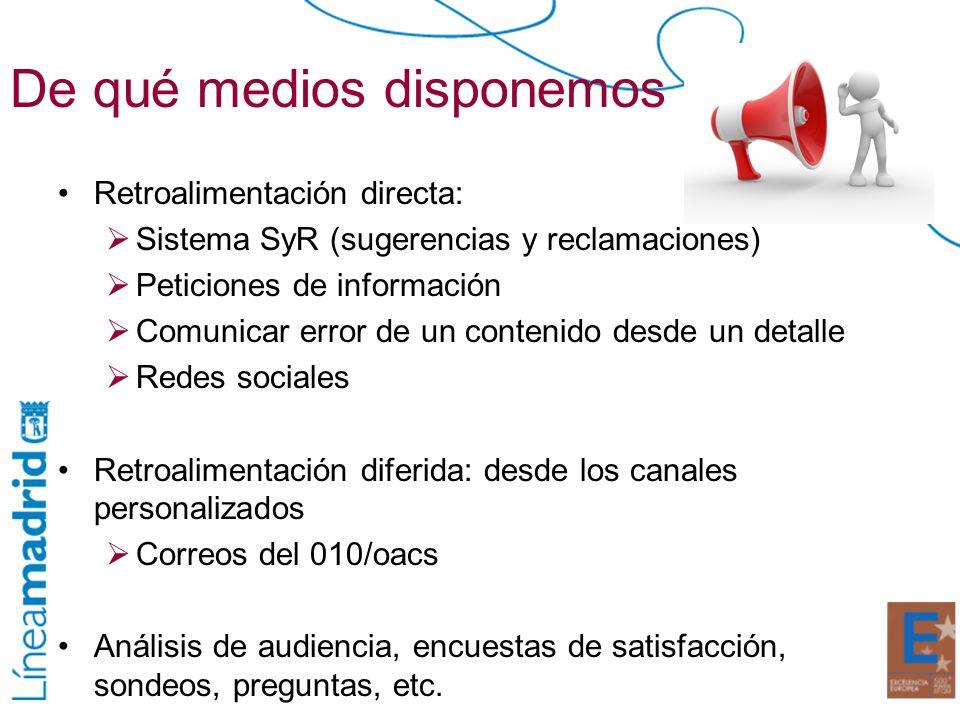 De qué medios disponemos Retroalimentación directa: Sistema SyR (sugerencias y reclamaciones) Peticiones de información Comunicar error de un contenid