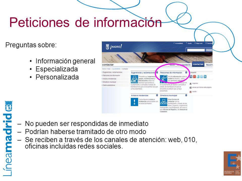 Peticiones de información Preguntas sobre: Información general Especializada Personalizada –No pueden ser respondidas de inmediato –Podrían haberse tr