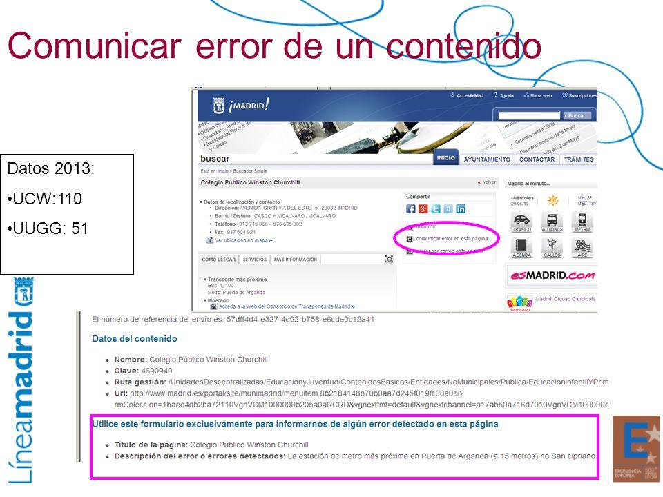 Comunicar error de un contenido Datos 2013: UCW:110 UUGG: 51