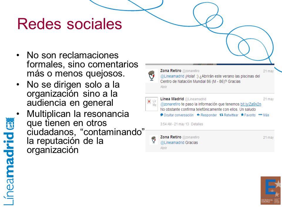 Redes sociales No son reclamaciones formales, sino comentarios más o menos quejosos. No se dirigen solo a la organización sino a la audiencia en gener