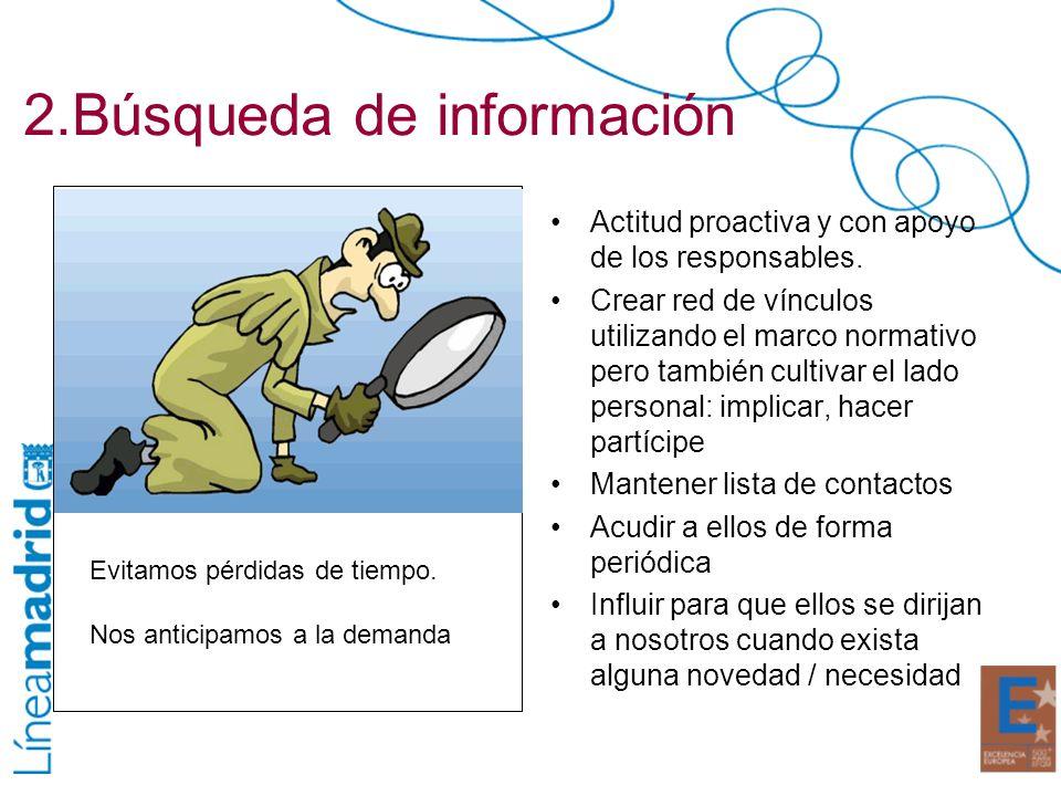 2.Búsqueda de información Actitud proactiva y con apoyo de los responsables. Crear red de vínculos utilizando el marco normativo pero también cultivar