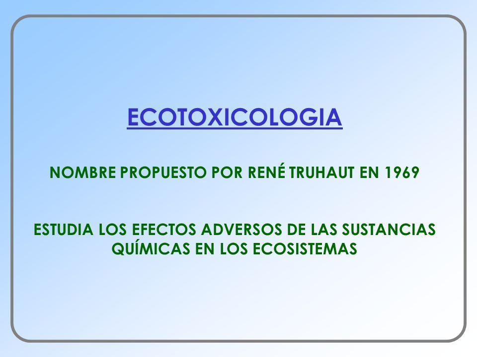 ECOTOXICOLOGIA NOMBRE PROPUESTO POR RENÉ TRUHAUT EN 1969 ESTUDIA LOS EFECTOS ADVERSOS DE LAS SUSTANCIAS QUÍMICAS EN LOS ECOSISTEMAS