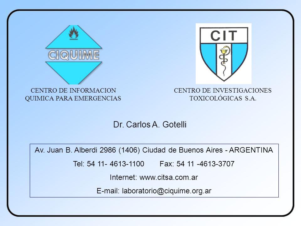 Av. Juan B. Alberdi 2986 (1406) Ciudad de Buenos Aires - ARGENTINA Tel: 54 11- 4613-1100 Fax: 54 11 -4613-3707 Internet: www.citsa.com.ar E-mail: labo