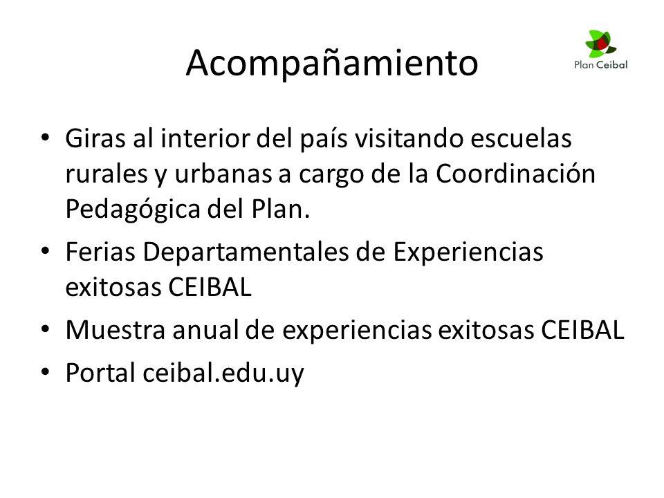 Acompañamiento Giras al interior del país visitando escuelas rurales y urbanas a cargo de la Coordinación Pedagógica del Plan.