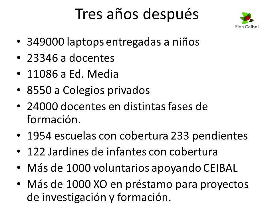 Tres años después 349000 laptops entregadas a niños 23346 a docentes 11086 a Ed.