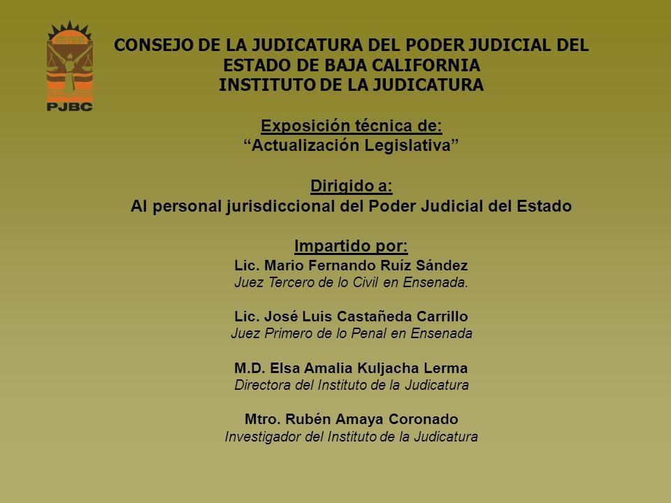 Ley de Justicia Alternativa para el Estado de Baja California, publicada en el Periódico Oficial de fecha 19 de octubre de 2007.