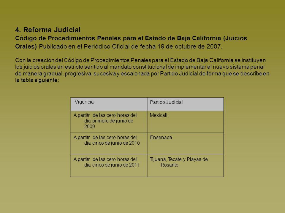 4. Reforma Judicial Código de Procedimientos Penales para el Estado de Baja California (Juicios Orales) Publicado en el Periódico Oficial de fecha 19