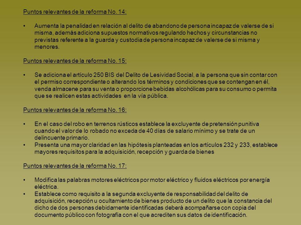 Código de Procedimientos Penales para el Estado de Baja California No.DecretoFechaArtículos Tipo RA 1123P.O 23 de abril de 2007123X 2330P.O 11 de mayo de 2007123X 3346P.O 31 de agosto de 2007123X 4441P.O 19 de octubre de 2007424 5420P.O 19 de octubre de 200720, 33, 34, 36, 44, 135, 142, 144, 191, 208, 228, 231, 247, 252, 262, 263, 293, 298, 299, 311, 319-BIS, 401 X 6422P.O 19 de octubre de 200763 y 299X 7406P.O 23 de noviembre de 2007123X