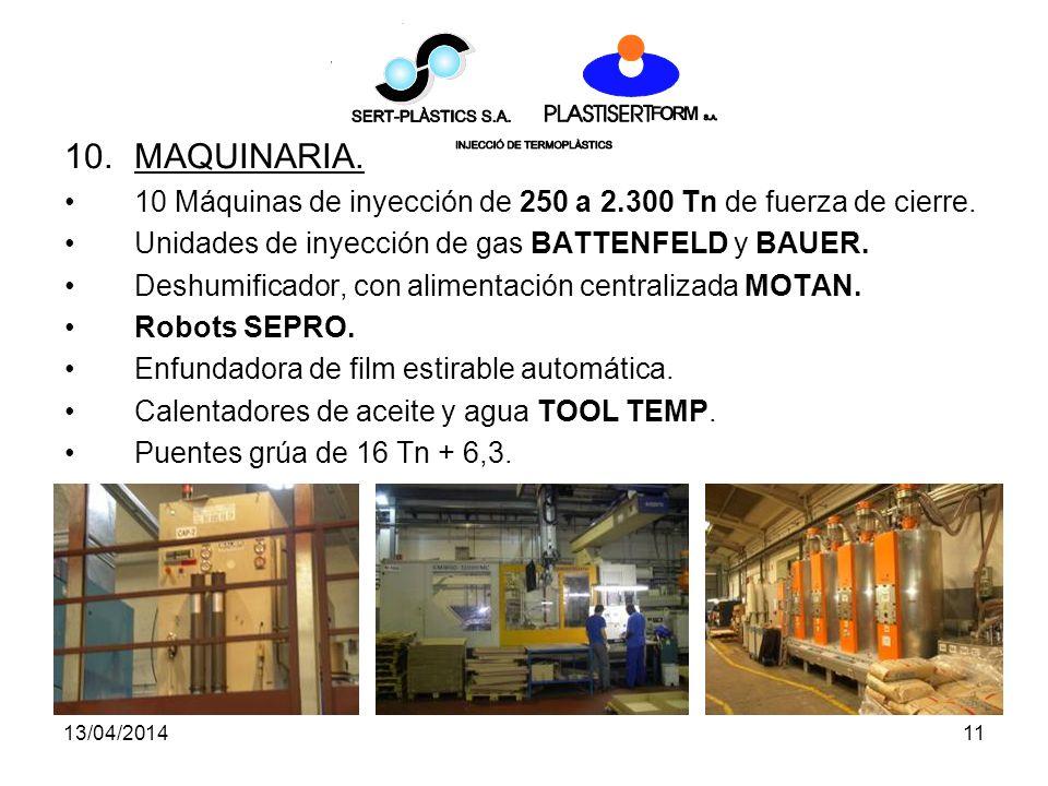 13/04/201411 10.MAQUINARIA.10 Máquinas de inyección de 250 a 2.300 Tn de fuerza de cierre.