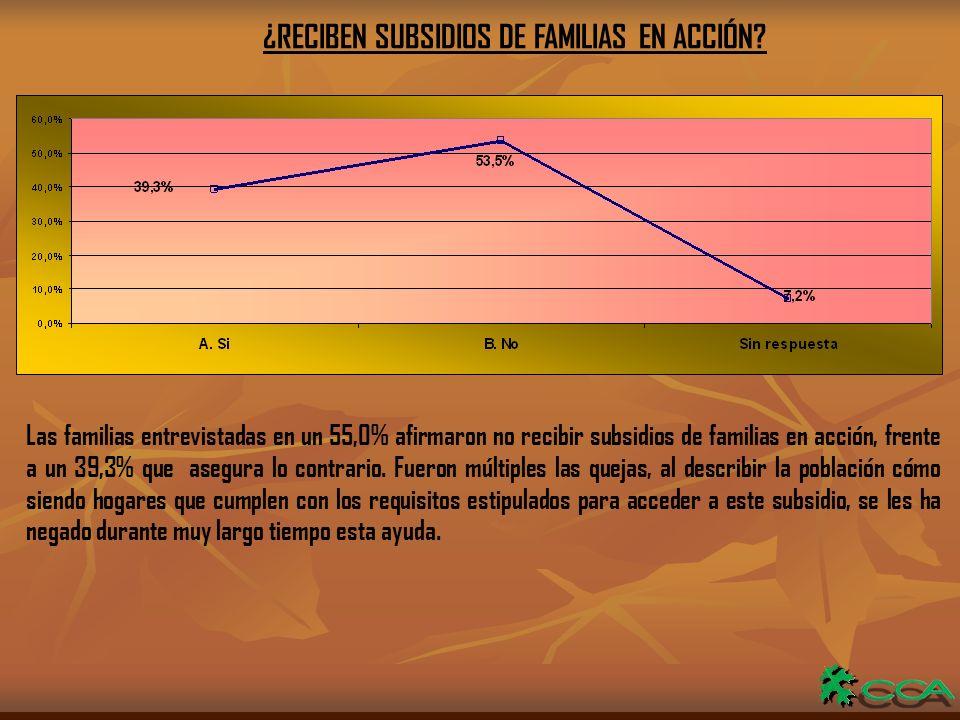 ¿RECIBEN SUBSIDIOS DE FAMILIAS EN ACCIÓN.