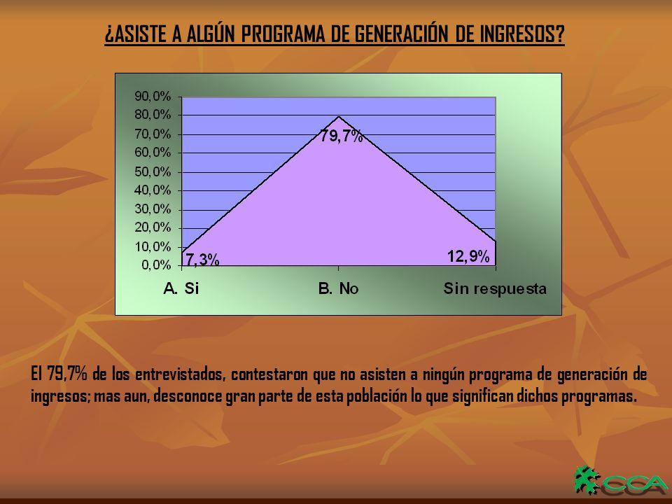 ¿ASISTE A ALGÚN PROGRAMA DE GENERACIÓN DE INGRESOS.