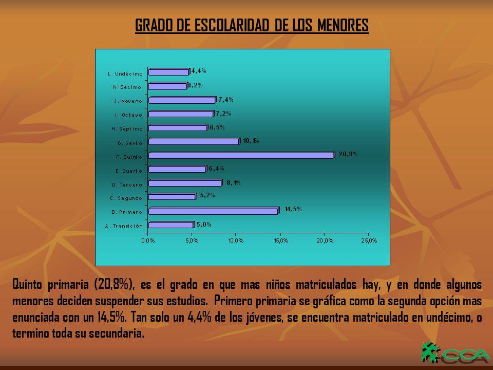 GRADO DE ESCOLARIDAD DE LOS MENORES Quinto primaria (20,8%), es el grado en que mas niños matriculados hay, y en donde algunos menores deciden suspender sus estudios.