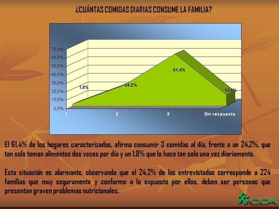 ¿CUÁNTAS COMIDAS DIARIAS CONSUME LA FAMILIA.