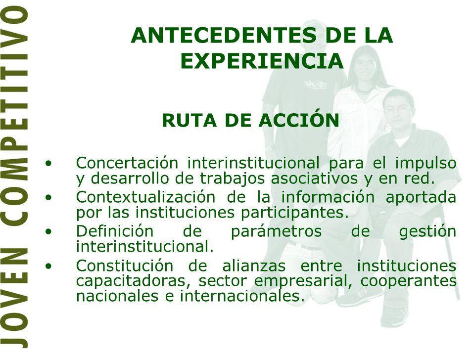 RUTA DE ACCIÓN Concertación interinstitucional para el impulso y desarrollo de trabajos asociativos y en red. Contextualización de la información apor