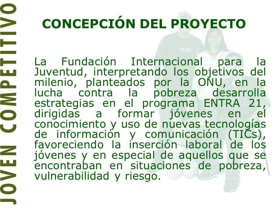 CONCEPCIÓN DEL PROYECTO La Fundación Internacional para la Juventud, interpretando los objetivos del milenio, planteados por la ONU, en la lucha contr