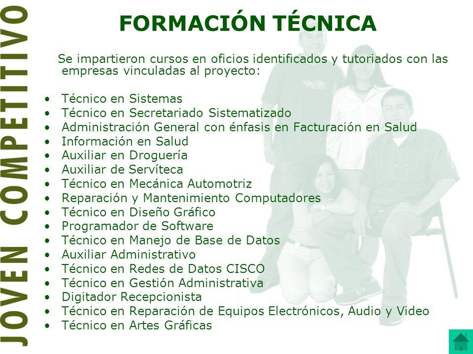 FORMACIÓN TÉCNICA Se impartieron cursos en oficios identificados y tutoriados con las empresas vinculadas al proyecto: Técnico en Sistemas Técnico en