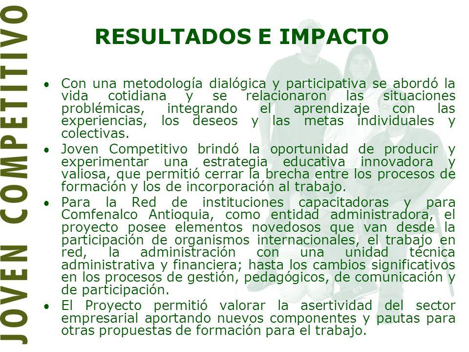 RESULTADOS E IMPACTO Con una metodología dialógica y participativa se abordó la vida cotidiana y se relacionaron las situaciones problémicas, integran