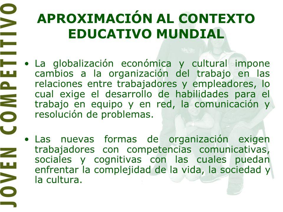 APROXIMACIÓN AL CONTEXTO EDUCATIVO MUNDIAL La globalización económica y cultural impone cambios a la organización del trabajo en las relaciones entre