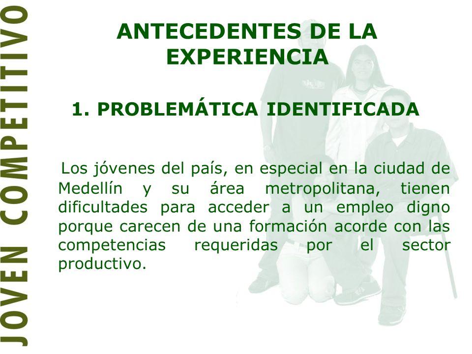 ANTECEDENTES DE LA EXPERIENCIA 1. PROBLEMÁTICA IDENTIFICADA Los jóvenes del país, en especial en la ciudad de Medellín y su área metropolitana, tienen