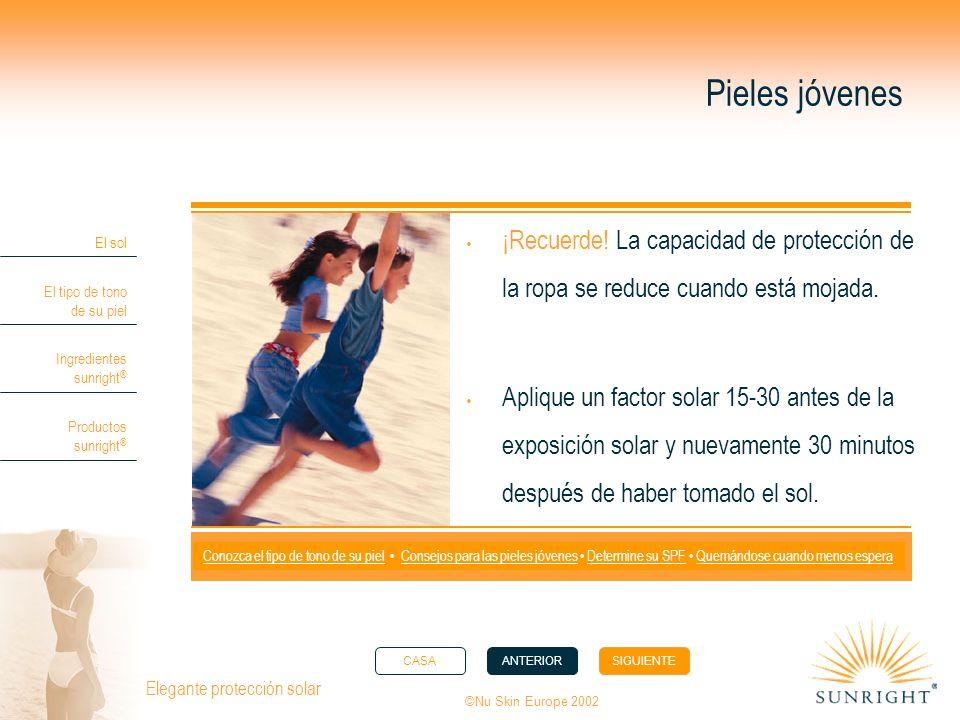 CASAANTERIORSIGUIENTE El sol El tipo de tono de su piel Ingredientes sunright ® Productos sunright ® ©Nu Skin Europe 2002 Elegante protección solar Pieles jóvenes ¡Recuerde.