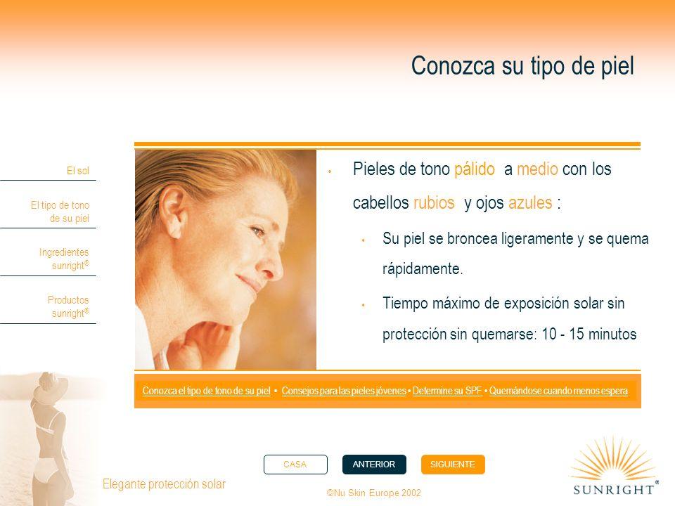 CASAANTERIORSIGUIENTE El sol El tipo de tono de su piel Ingredientes sunright ® Productos sunright ® ©Nu Skin Europe 2002 Elegante protección solar Co