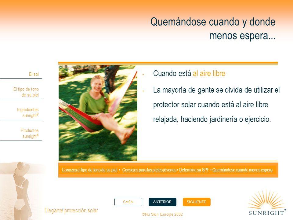 CASAANTERIORSIGUIENTE El sol El tipo de tono de su piel Ingredientes sunright ® Productos sunright ® ©Nu Skin Europe 2002 Elegante protección solar Qu