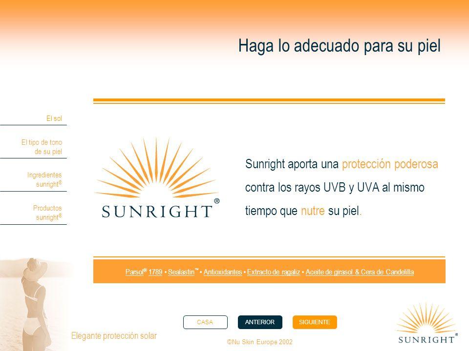 CASAANTERIORSIGUIENTE El sol El tipo de tono de su piel Ingredientes sunright ® Productos sunright ® ©Nu Skin Europe 2002 Elegante protección solar Ha