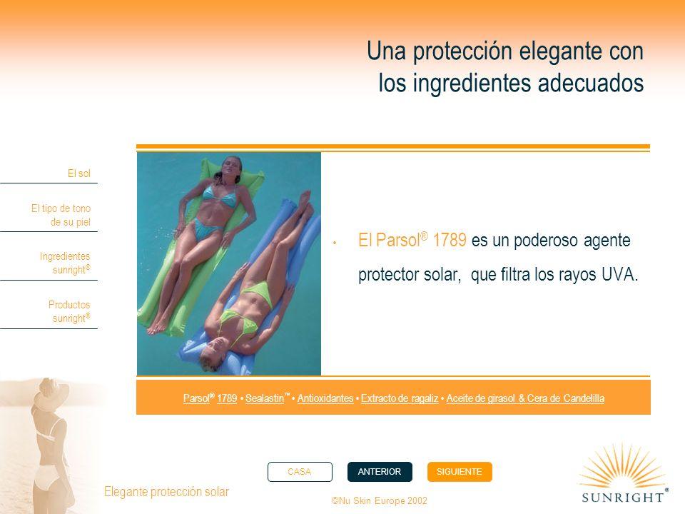 CASAANTERIORSIGUIENTE El sol El tipo de tono de su piel Ingredientes sunright ® Productos sunright ® ©Nu Skin Europe 2002 Elegante protección solar Un