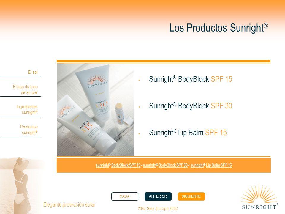 CASAANTERIORSIGUIENTE El sol El tipo de tono de su piel Ingredientes sunright ® Productos sunright ® ©Nu Skin Europe 2002 Elegante protección solar Lo