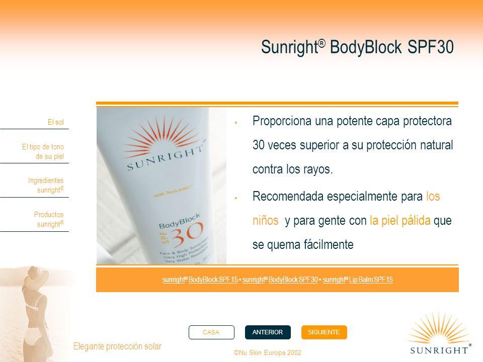 CASAANTERIORSIGUIENTE El sol El tipo de tono de su piel Ingredientes sunright ® Productos sunright ® ©Nu Skin Europe 2002 Elegante protección solar Su