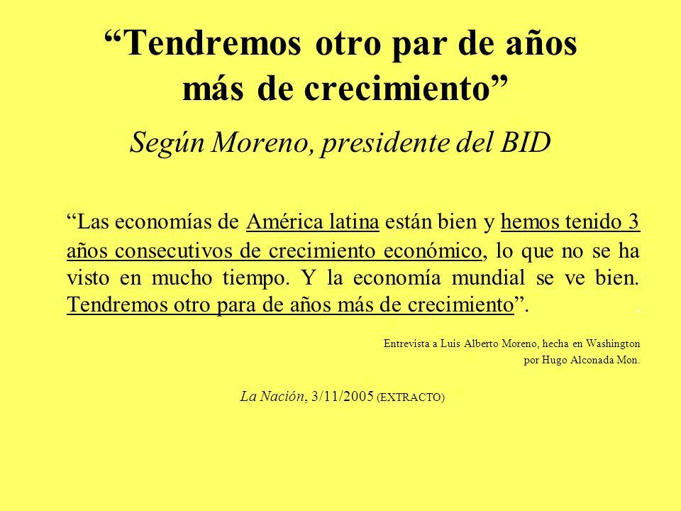Tendremos otro par de años más de crecimiento Según Moreno, presidente del BID Las economías de América latina están bien y hemos tenido 3 años consecutivos de crecimiento económico, lo que no se ha visto en mucho tiempo.