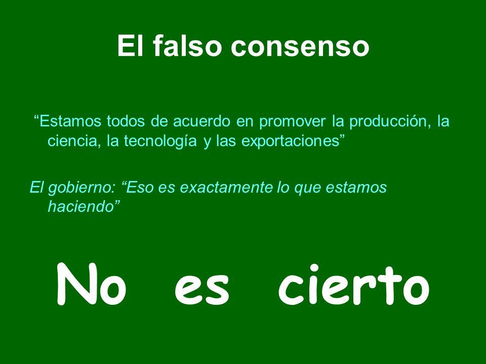 El falso consenso Estamos todos de acuerdo en promover la producción, la ciencia, la tecnología y las exportaciones El gobierno: Eso es exactamente lo que estamos haciendo No es cierto