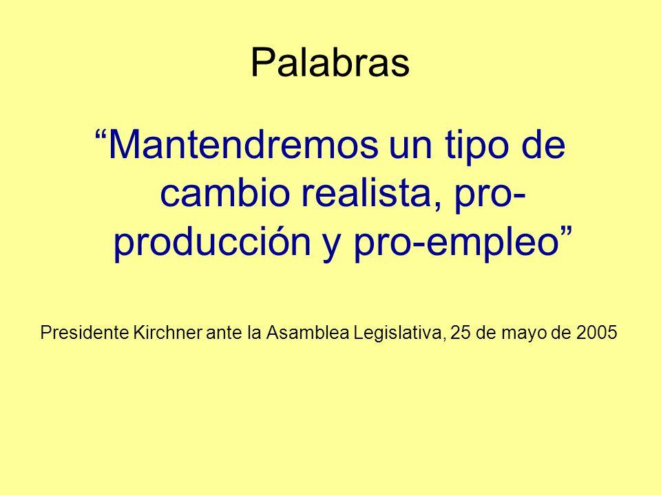 Palabras Mantendremos un tipo de cambio realista, pro- producción y pro-empleo Presidente Kirchner ante la Asamblea Legislativa, 25 de mayo de 2005