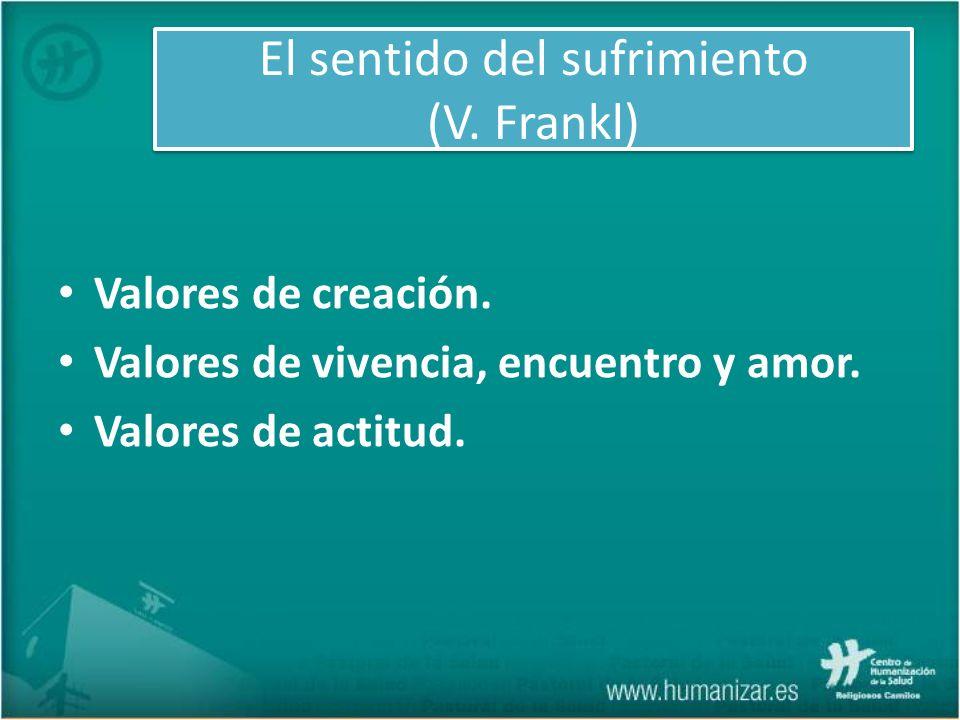 El sentido del sufrimiento (V. Frankl) Valores de creación. Valores de vivencia, encuentro y amor. Valores de actitud.