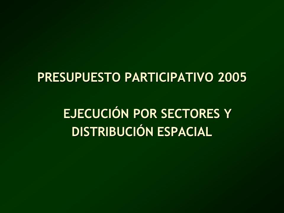 PRESUPUESTO PARTICIPATIVO 2005 EJECUCIÓN POR SECTORES Y DISTRIBUCIÓN ESPACIAL