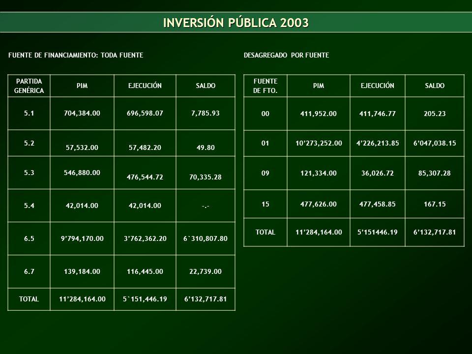 INVERSIÓN PÚBLICA 2003