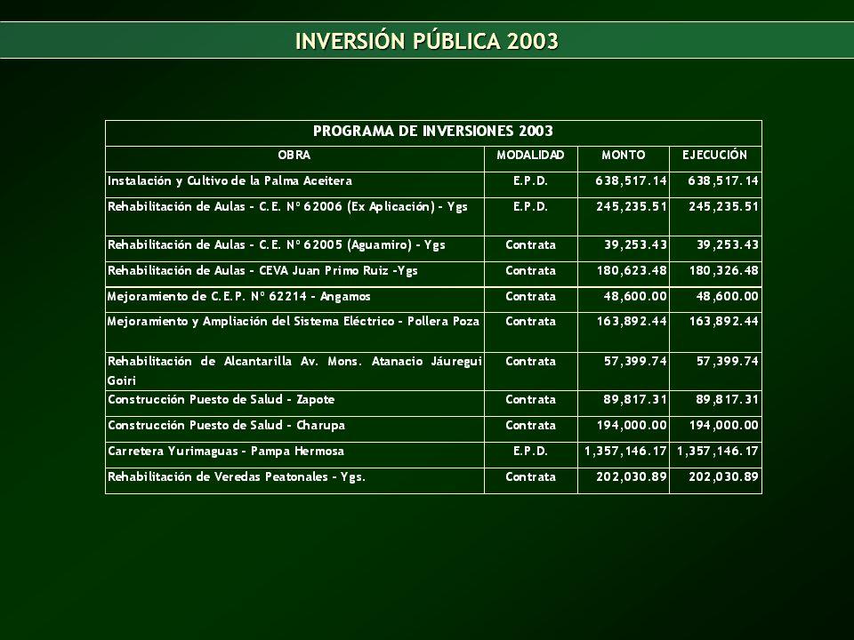 RESUMEN DE LA INVERSION PÚBLICA 2003-2005 EJECUCIÓN ÁMBITO PROVINCIAL