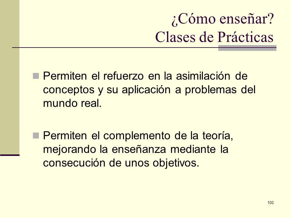 100 ¿Cómo enseñar? Clases de Prácticas Permiten el refuerzo en la asimilación de conceptos y su aplicación a problemas del mundo real. Permiten el com
