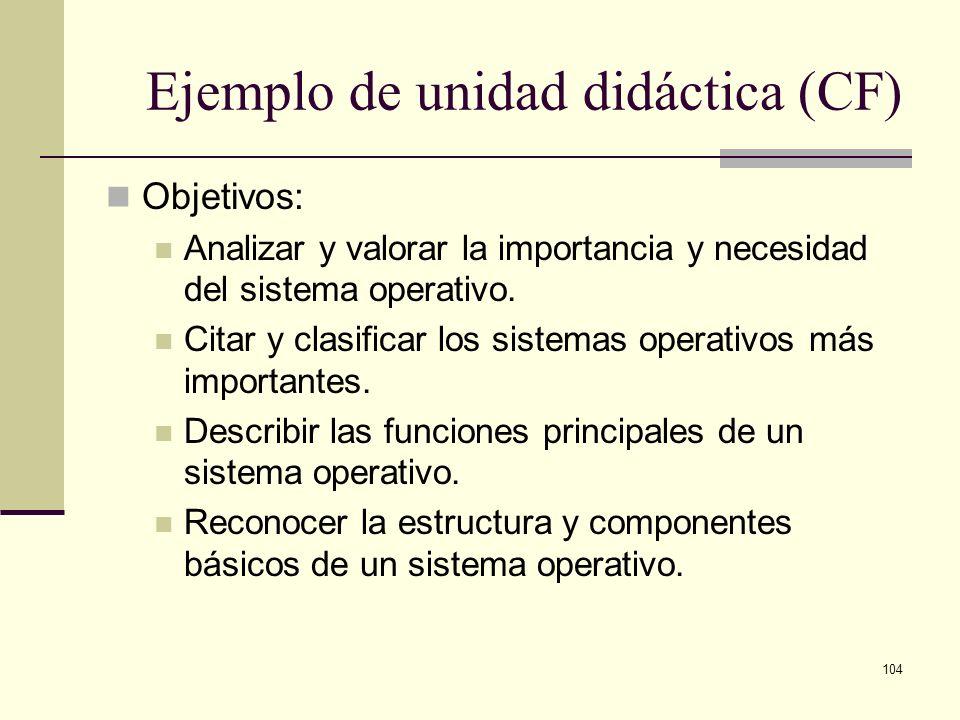104 Ejemplo de unidad didáctica (CF) Objetivos: Analizar y valorar la importancia y necesidad del sistema operativo. Citar y clasificar los sistemas o