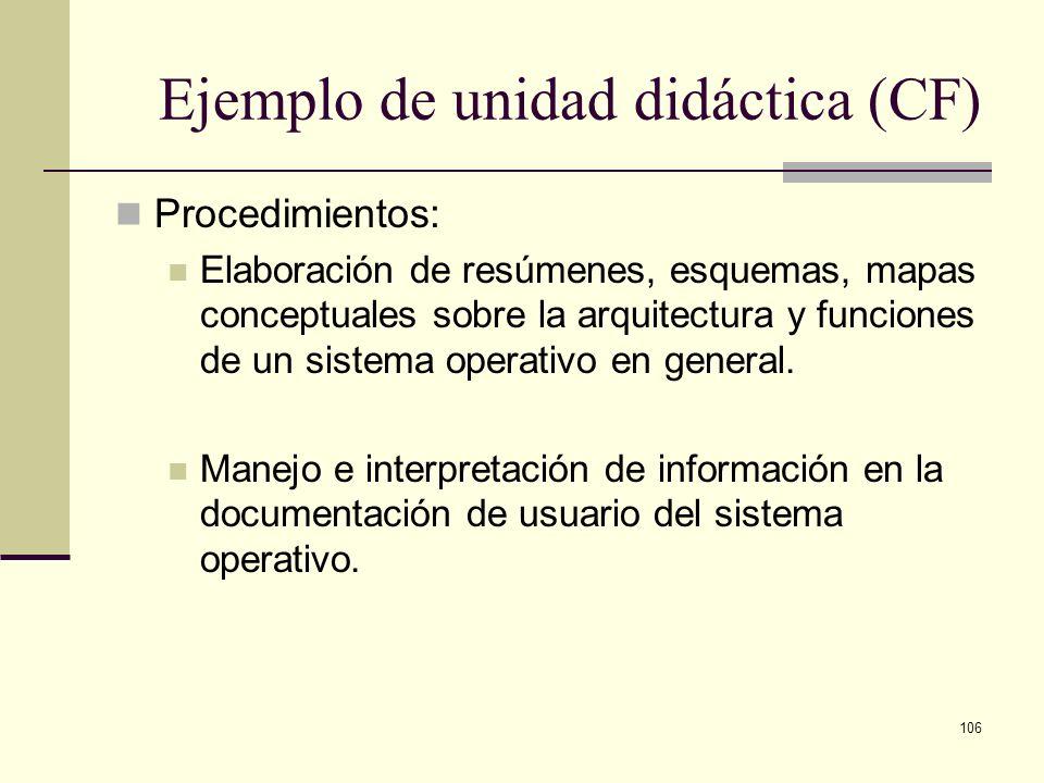 106 Ejemplo de unidad didáctica (CF) Procedimientos: Elaboración de resúmenes, esquemas, mapas conceptuales sobre la arquitectura y funciones de un si