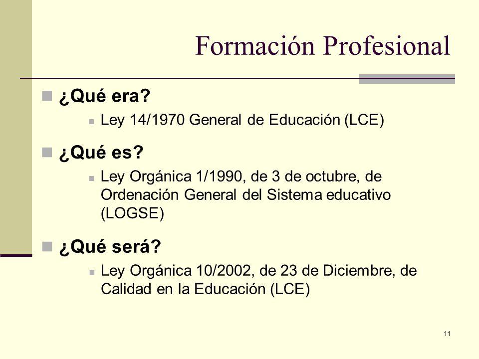 11 Formación Profesional ¿Qué es? Ley Orgánica 1/1990, de 3 de octubre, de Ordenación General del Sistema educativo (LOGSE) Ley Orgánica 1/1990, de 3