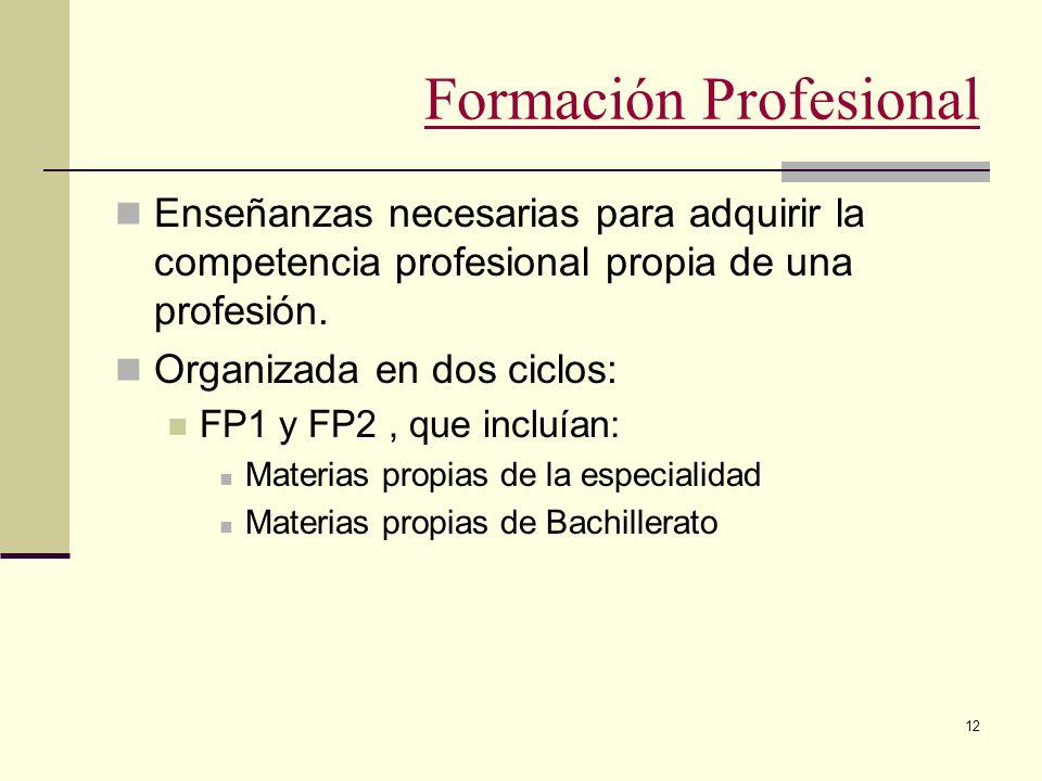12 Formación Profesional Enseñanzas necesarias para adquirir la competencia profesional propia de una profesión. Organizada en dos ciclos: FP1 y FP2,