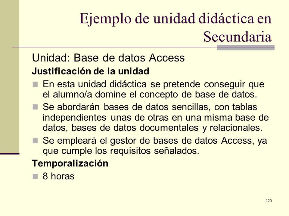 120 Ejemplo de unidad didáctica en Secundaria Unidad: Base de datos Access Justificación de la unidad En esta unidad didáctica se pretende conseguir q