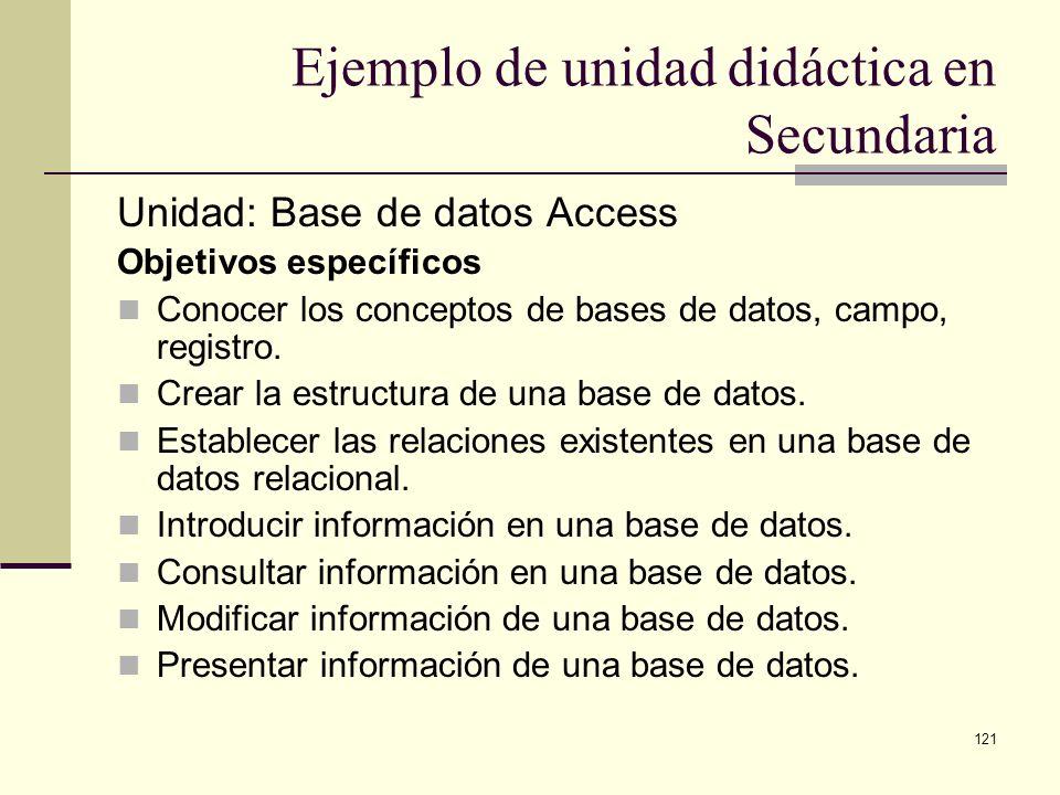 121 Ejemplo de unidad didáctica en Secundaria Unidad: Base de datos Access Objetivos específicos Conocer los conceptos de bases de datos, campo, regis