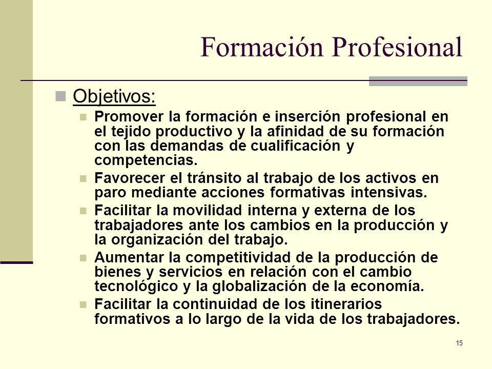 15 Formación Profesional Objetivos: Promover la formación e inserción profesional en el tejido productivo y la afinidad de su formación con las demand