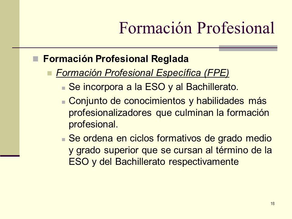 18 Formación Profesional Reglada Formación Profesional Específica (FPE) Se incorpora a la ESO y al Bachillerato. Conjunto de conocimientos y habilidad