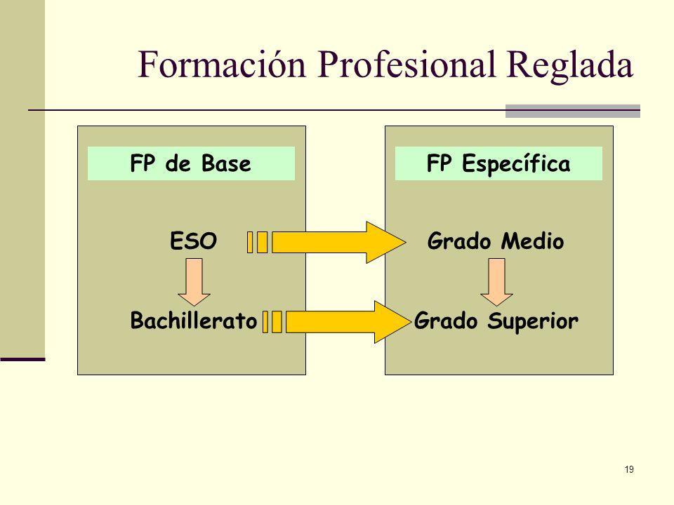 19 Formación Profesional Reglada FP de BaseFP Específica ESOGrado Medio BachilleratoGrado Superior