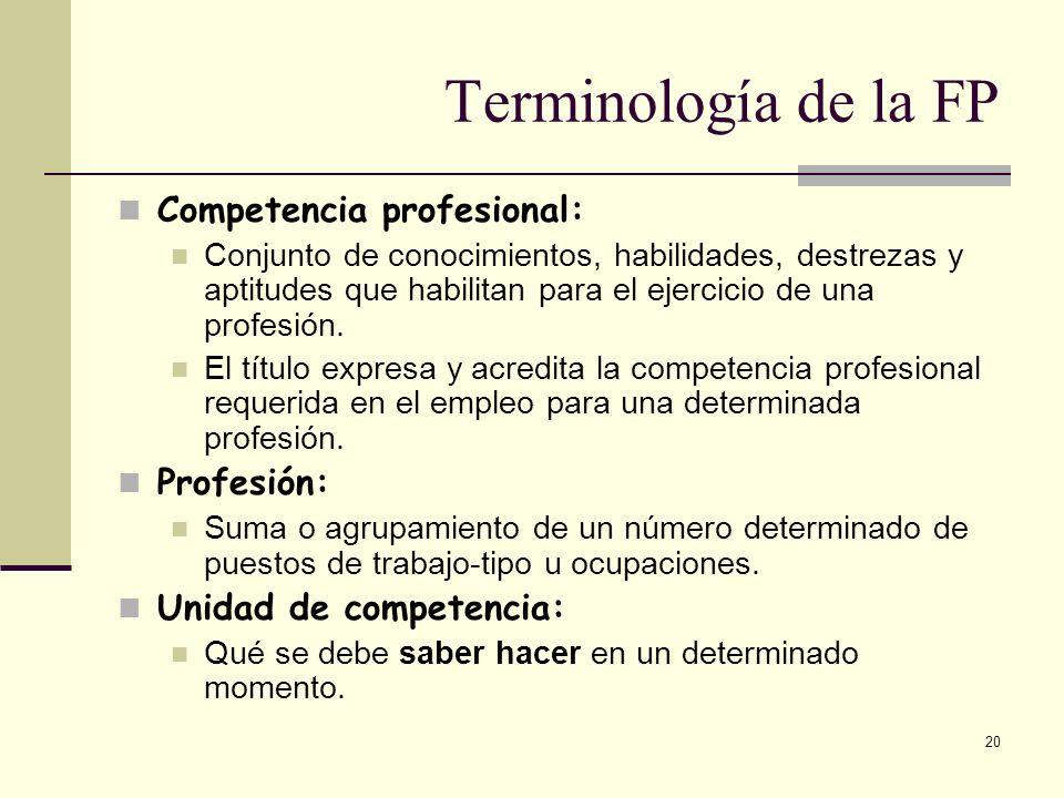 20 Competencia profesional: Conjunto de conocimientos, habilidades, destrezas y aptitudes que habilitan para el ejercicio de una profesión. El título