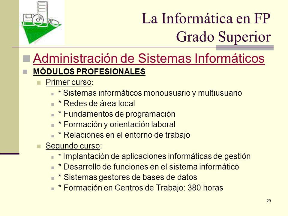 29 Administración de Sistemas Informáticos MÓDULOS PROFESIONALES Primer curso : * Sistemas informáticos monousuario y multiusuario * Redes de área loc