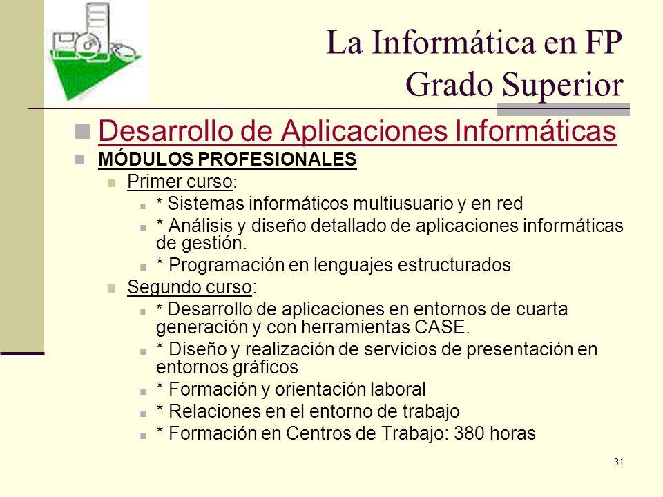 31 Desarrollo de Aplicaciones Informáticas MÓDULOS PROFESIONALES Primer curso : * Sistemas informáticos multiusuario y en red * Análisis y diseño deta